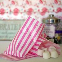 Pink & White Stripe Candy / Sweet Bags 5x7